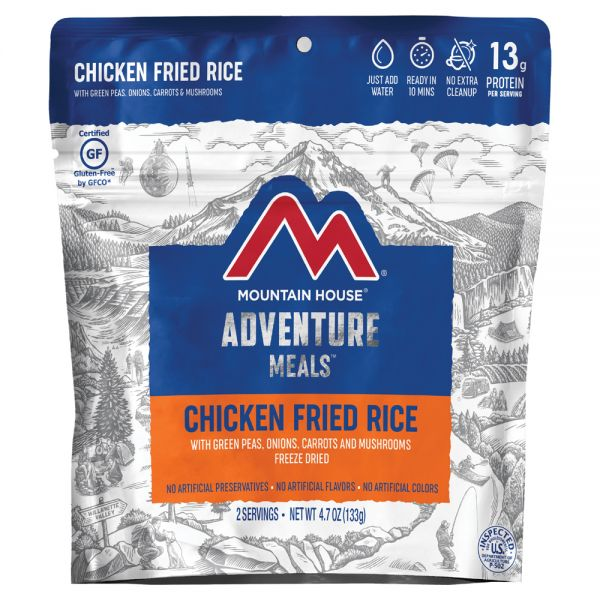 a packet of freeze dried chicken fried rice