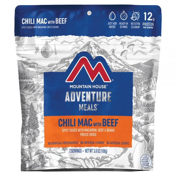 a packet of freeze dried chili mac