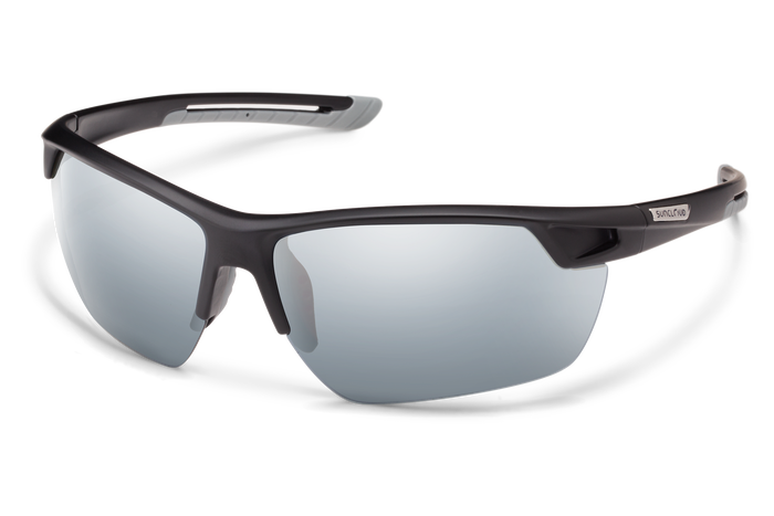suncloud contender sunglasses in black with silver lenses