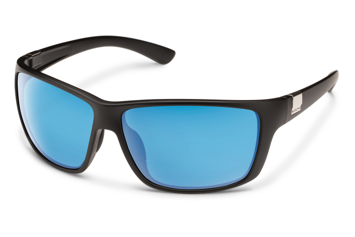 suncloud councilman black with polarized blue mirror lenses