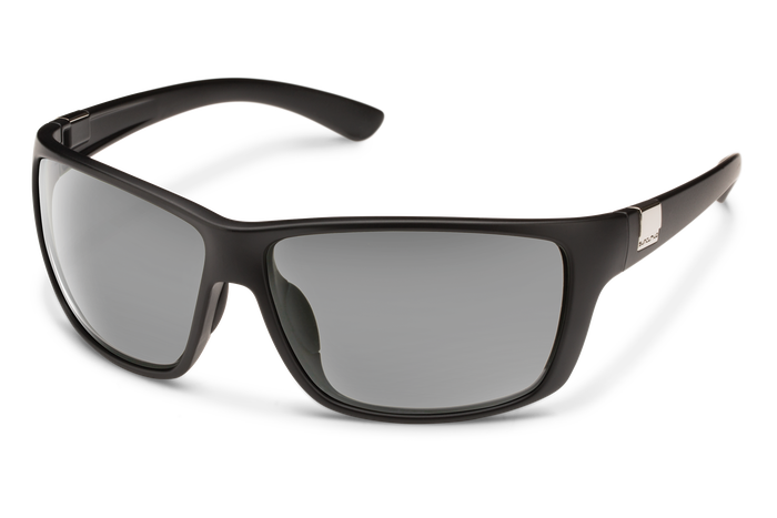 suncloud councilman sunglasses in black with polarized gray lenses