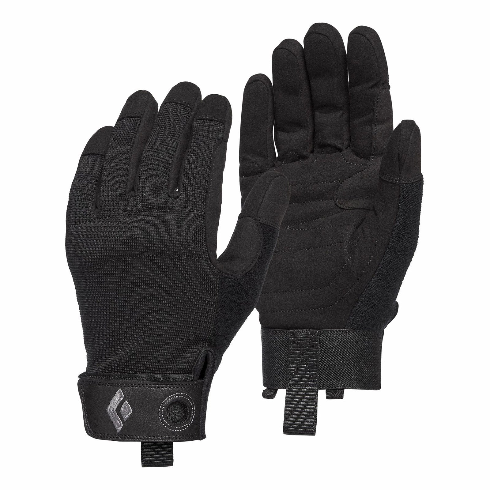 black diamond crag gloves in black
