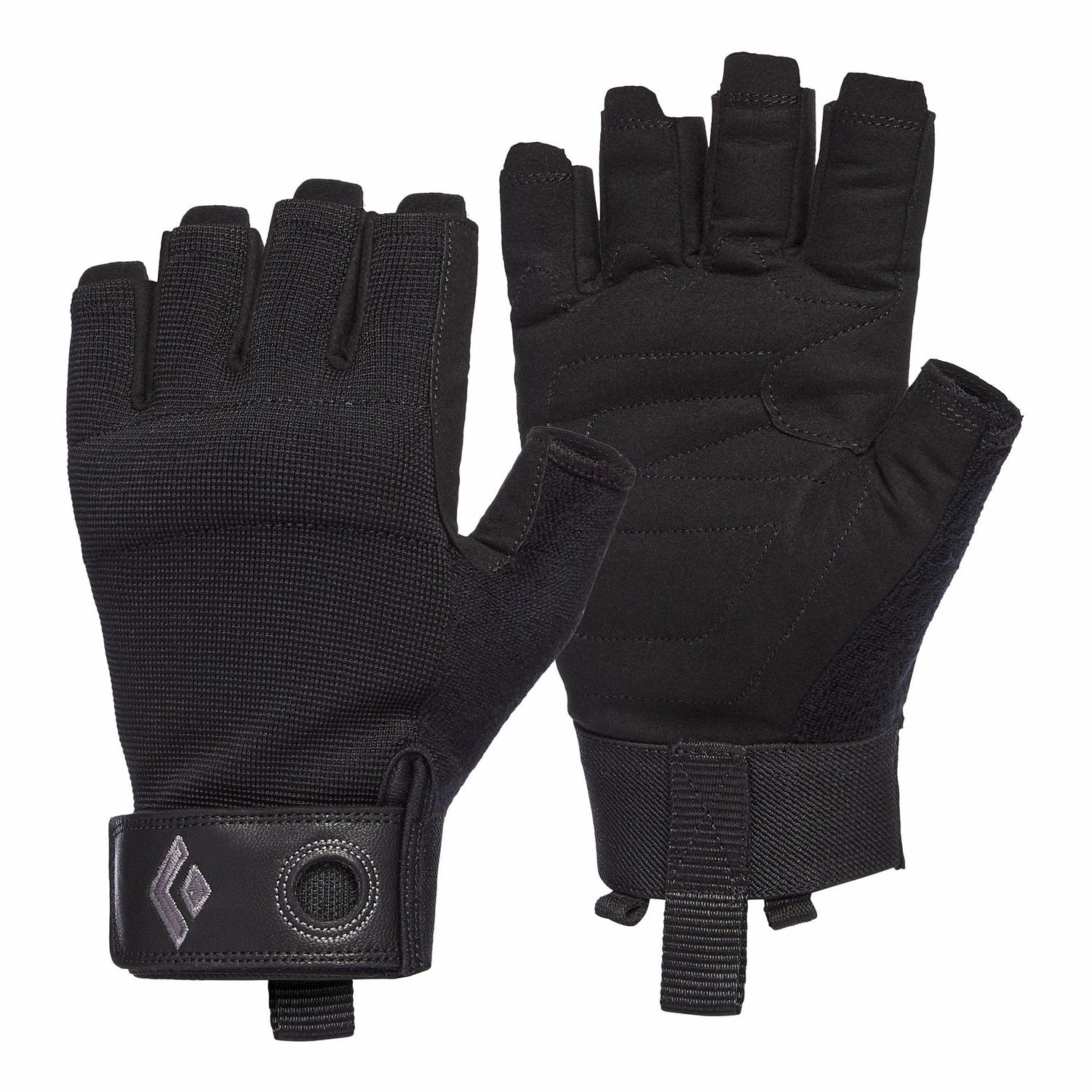 black diamond crag half finger gloves in black