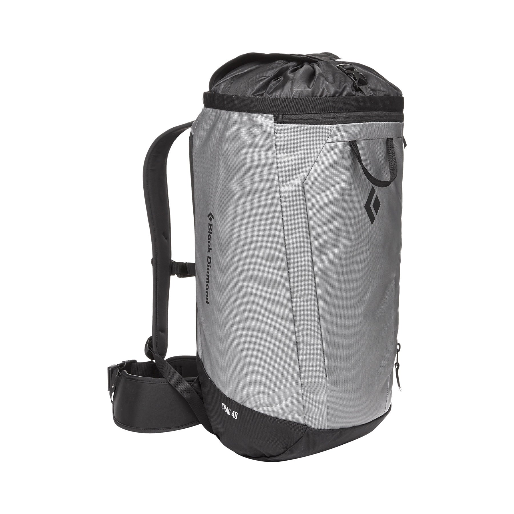 black diamond crag 40 backpack in nickel, front view