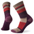Women's Striped Light Hiking Crew Socks in bordeaux