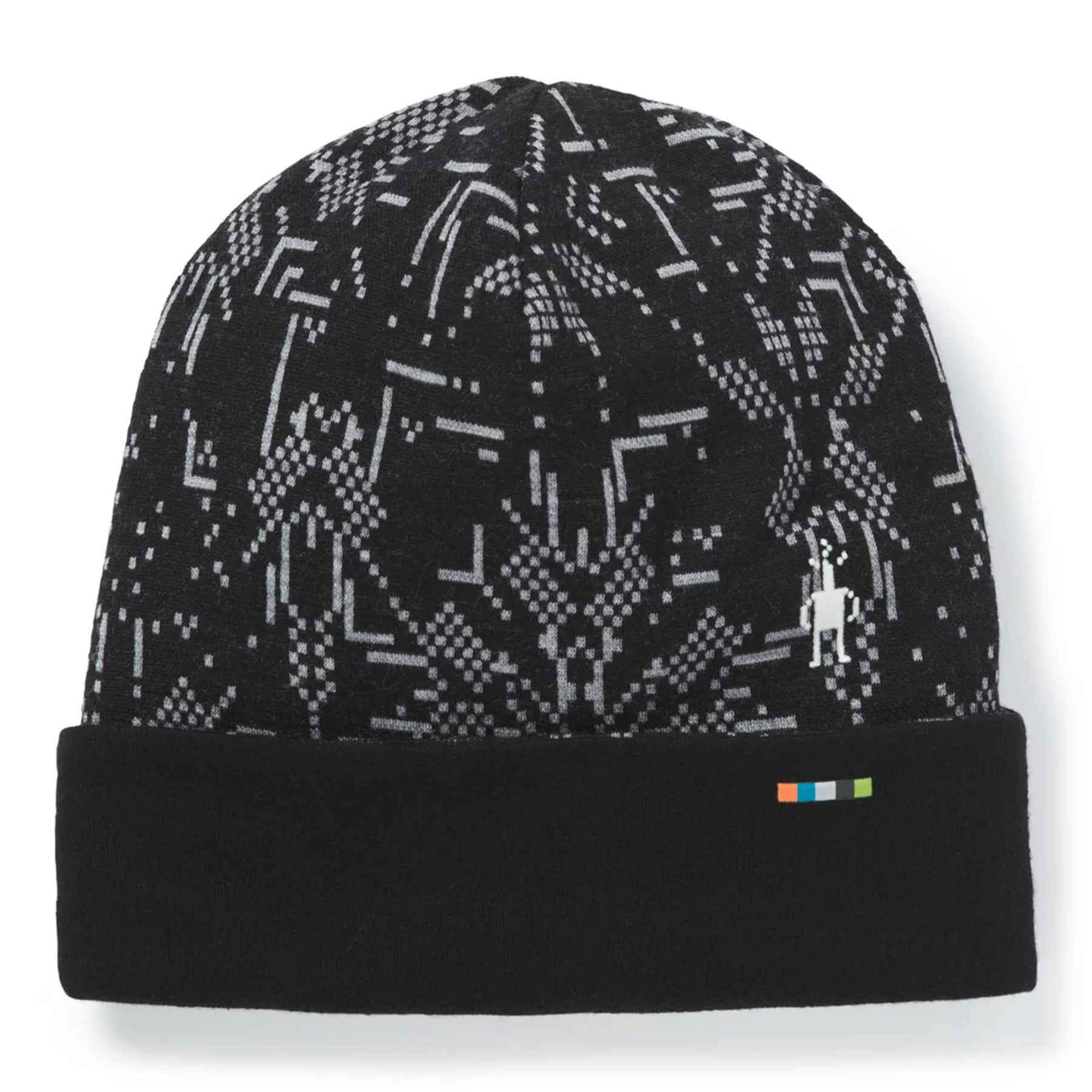 the black digital snowflake pattern mainly black with white lines that are meant to be snowflakes