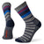 striped crew socks in light gray with red, royal blue, and black horizontal stripes