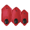 all three dromedary lite bags in a row, 6l, 4l, 2l,