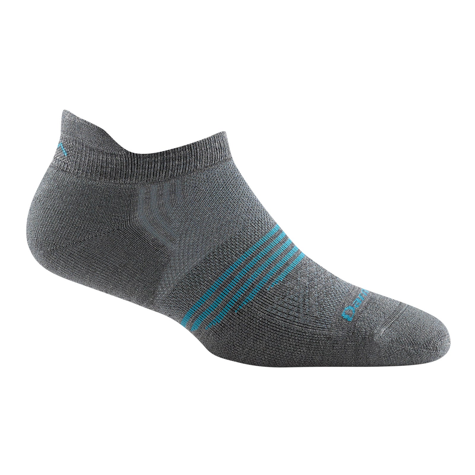 sideview of element no show light cushion women's sock in grey with blue stripes