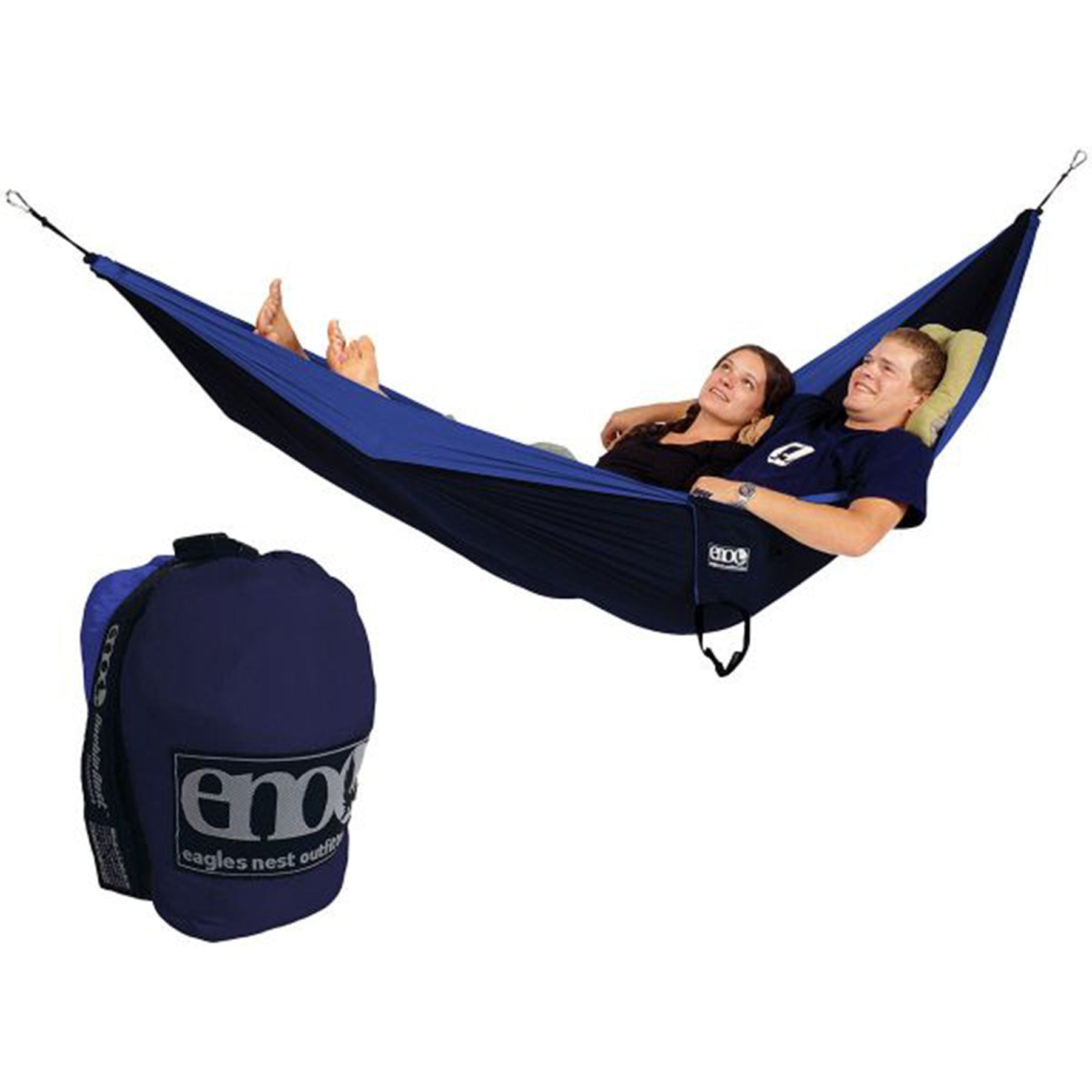 a blue hammock for 2 people