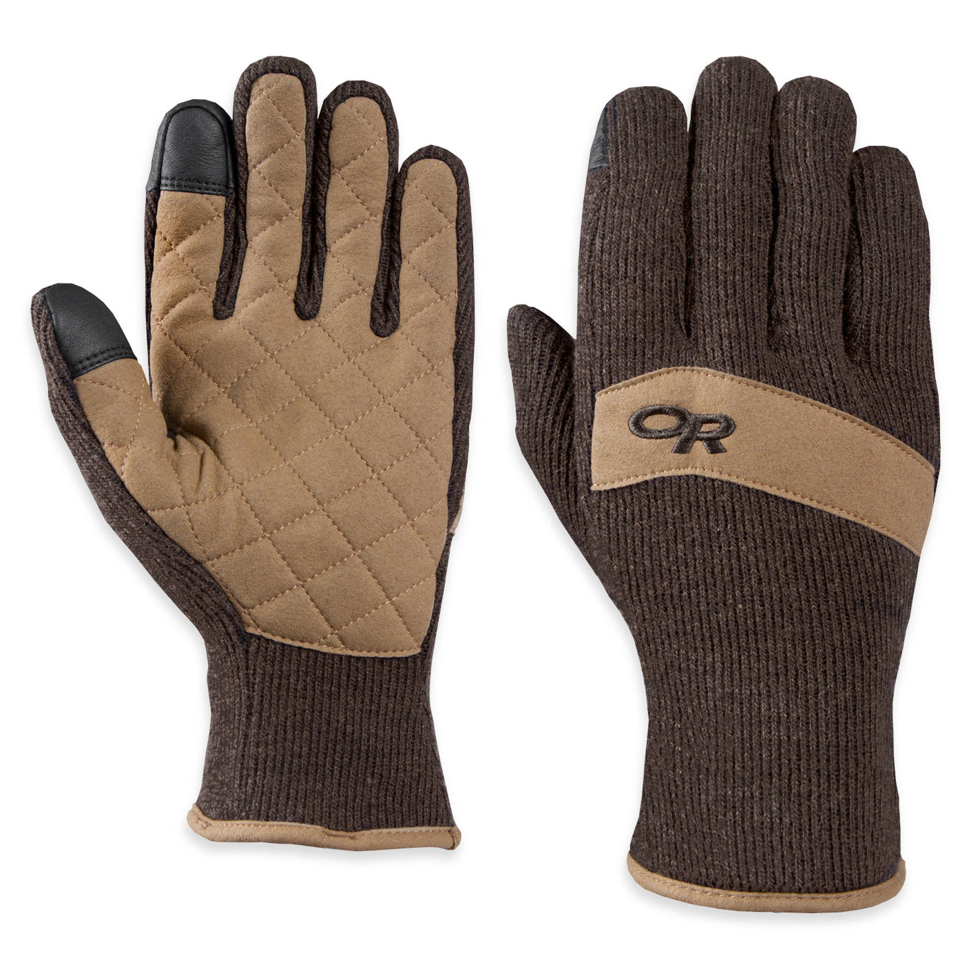 outdoor research exit sensor gloves front and back view in light and dark brown