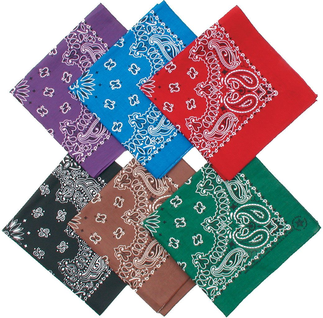 folded bandanas in the colors purple, royal blue, red, black, brown, and green