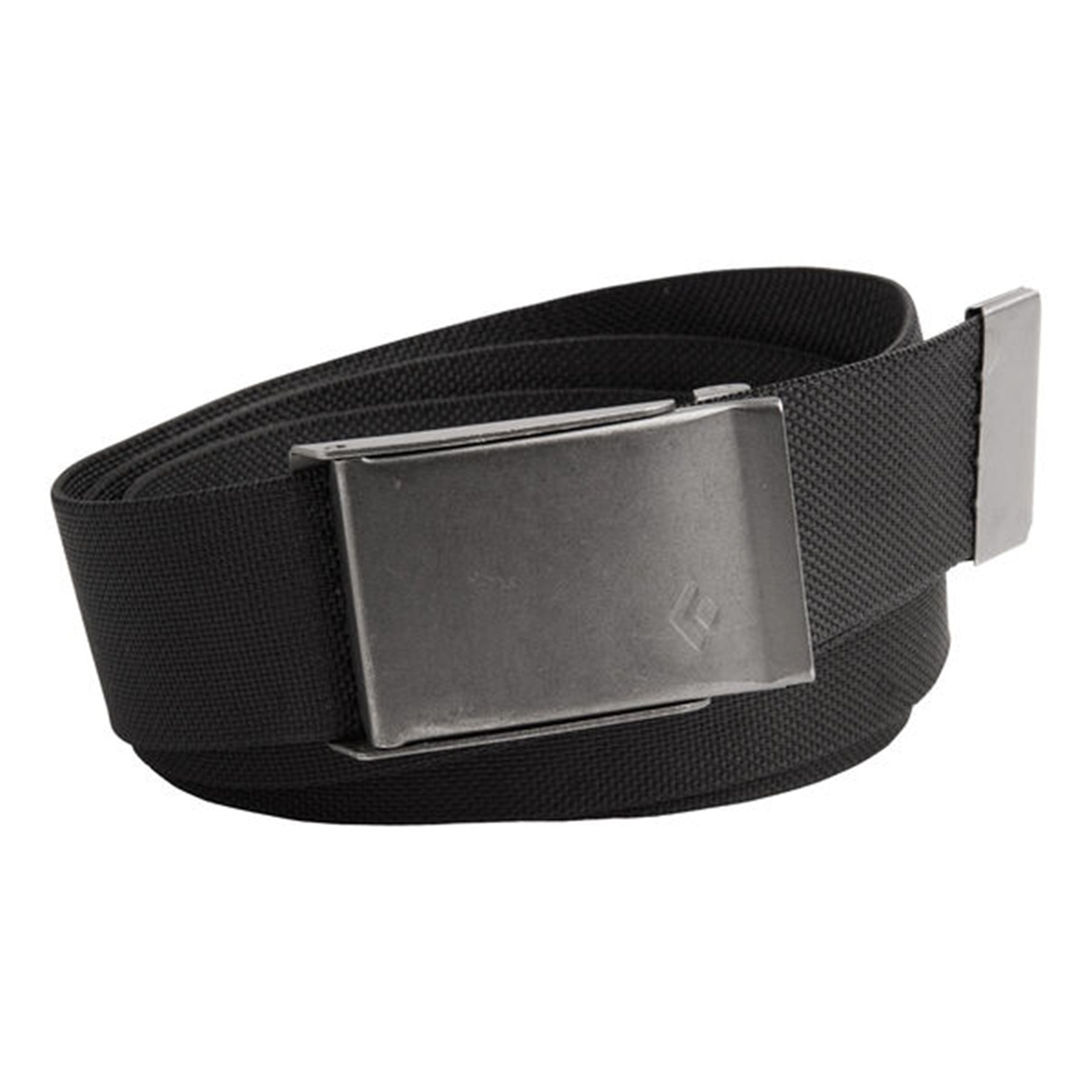 a black webbing belt with a metal buckle
