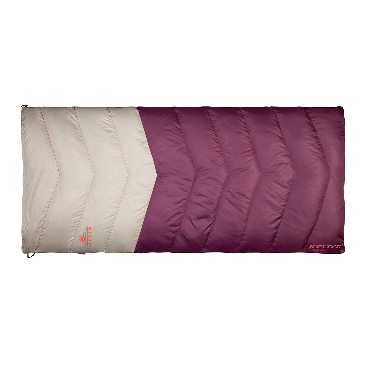kelty galactic 30 degree womens closed front view in color purple and beige