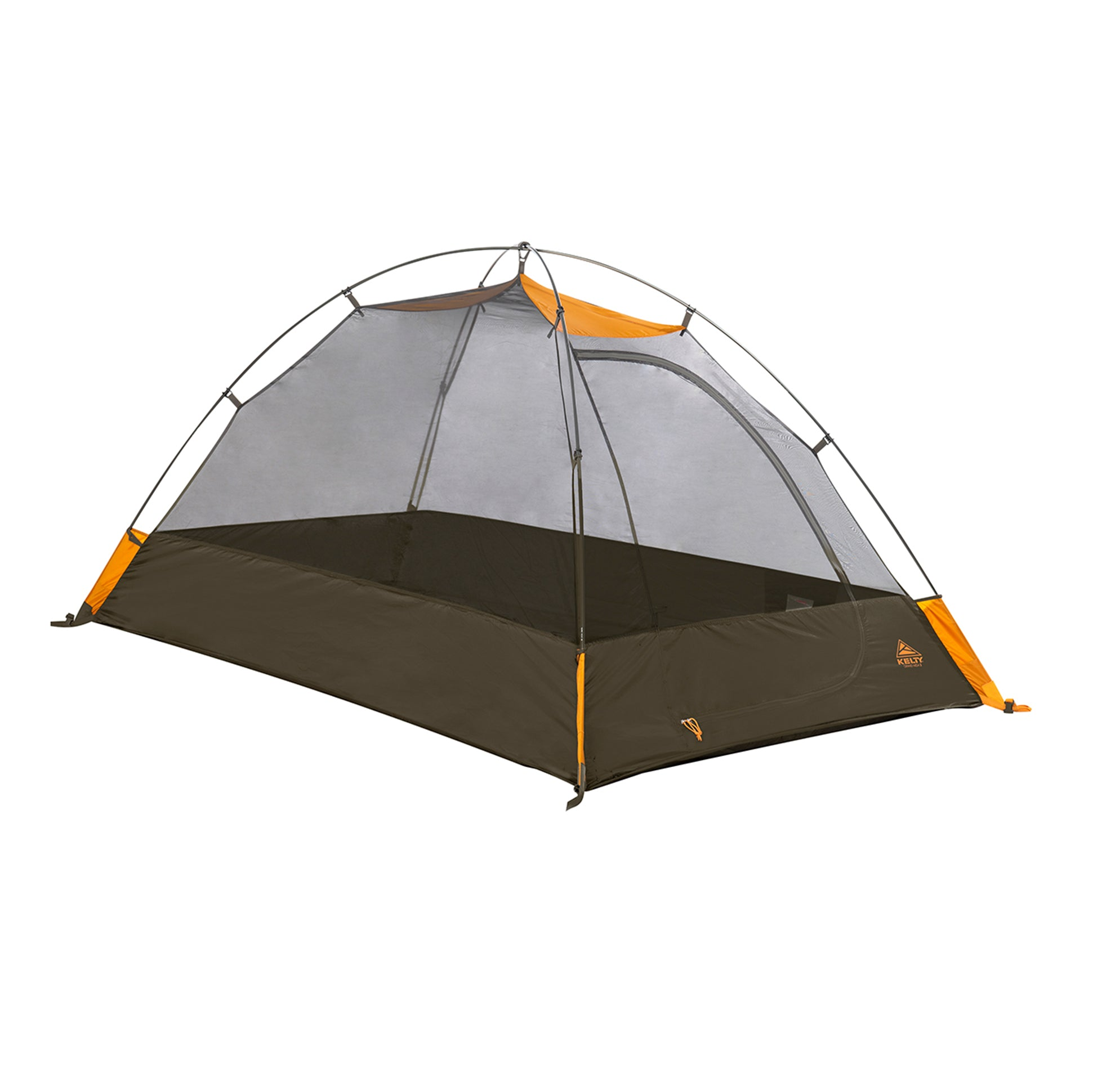kelty grand mesa 2 person tent fly off front view in colors brown with orange accents