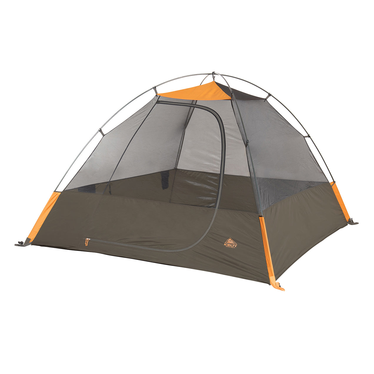 kelty grand mesa 4 person tent fly off front view in color brown with orange accents