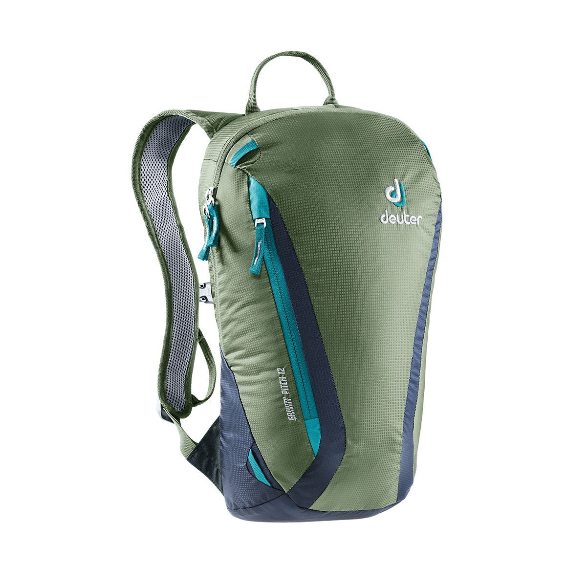 deuter gravity pitch 12 climbing pack front view in color green and navy blue