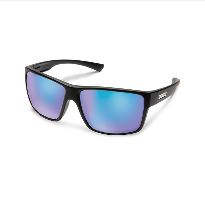 suncloud hawthorne sunglasses in matte black with blue polarized lenses