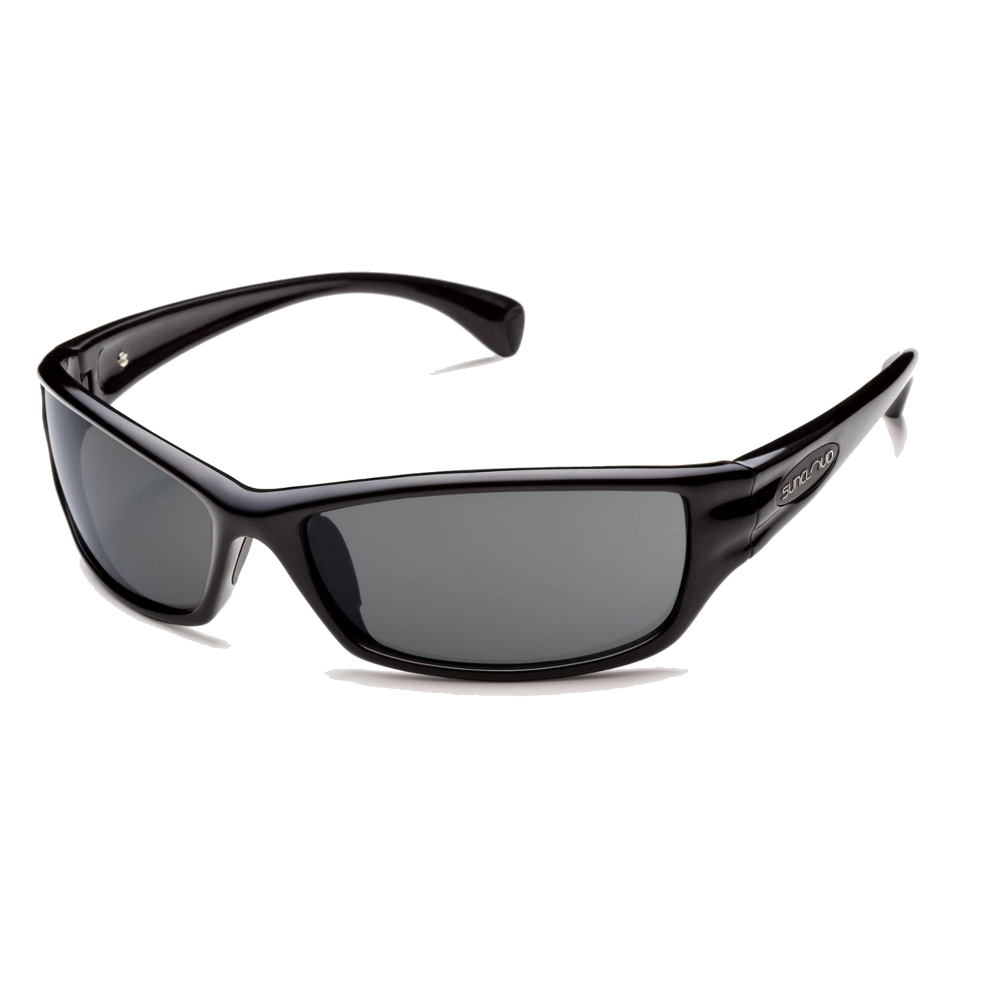 suncloud hook sunglasses in black with gray lenses