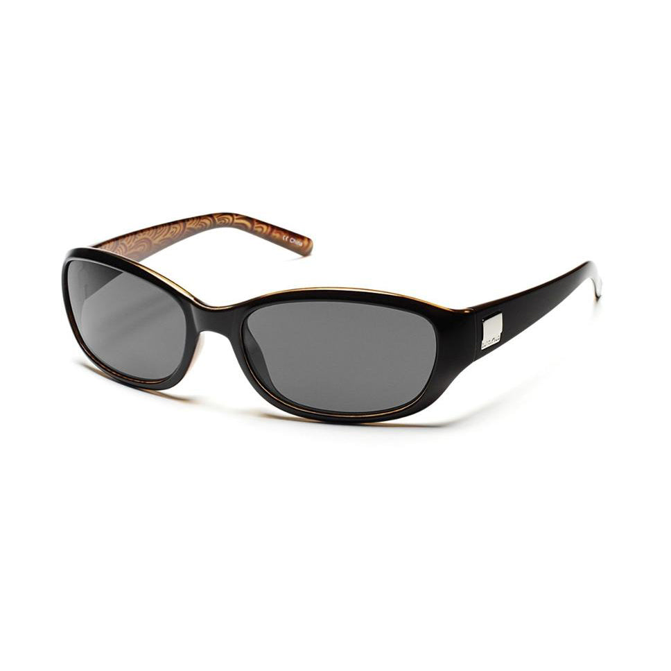 suncloud iris sunglasses in black backpaint with polarized gray lenses