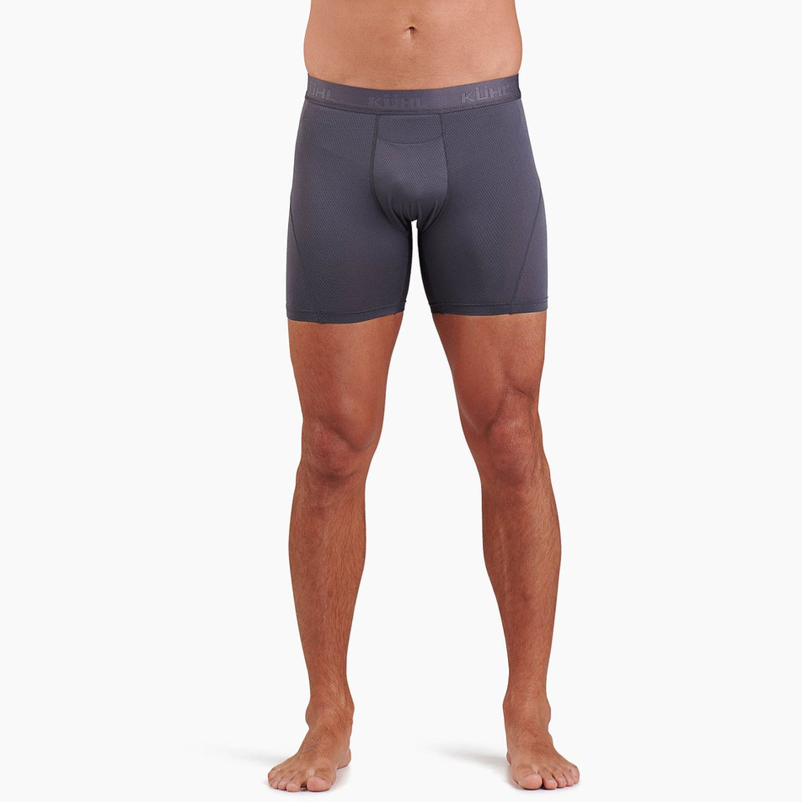 kuhl boxer brief mens on model front view in color grey