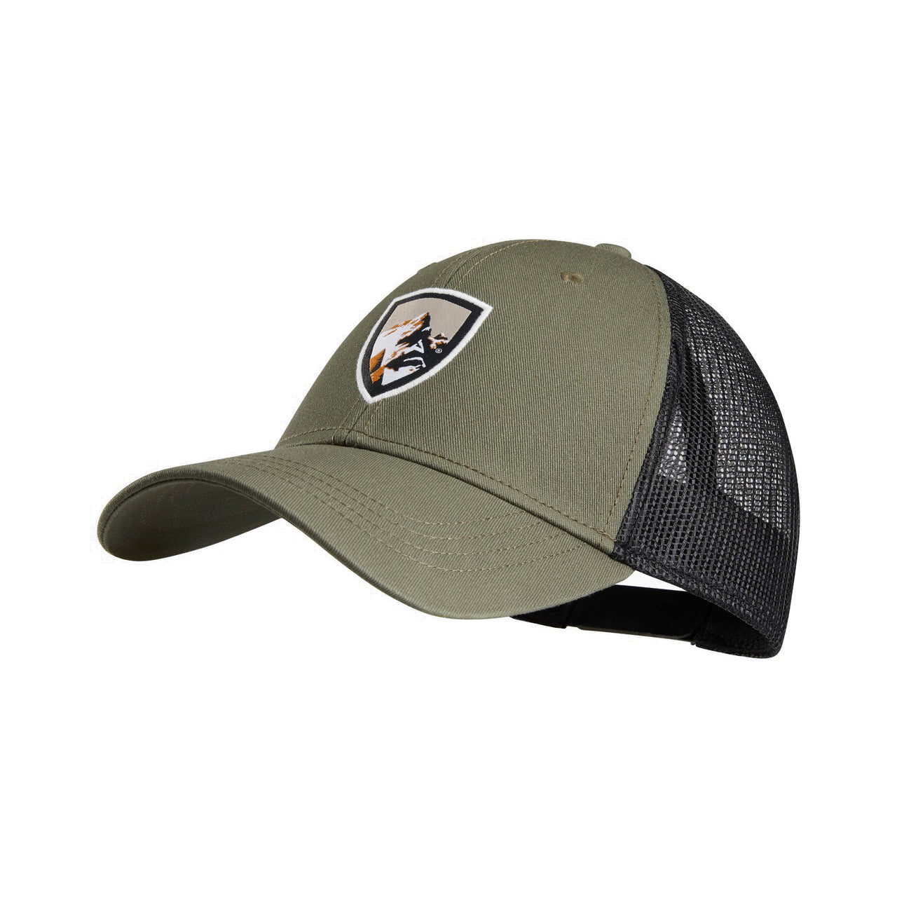 kuhl trucker hat mens three quarter view in color green with kuhl logo and mesh back
