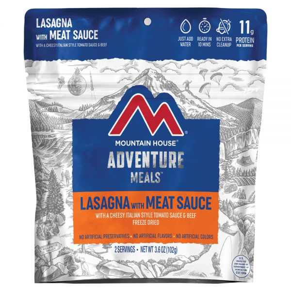 mountain house meal, lasagna with cheesy italian style tomato sauce & beef, freeze dried