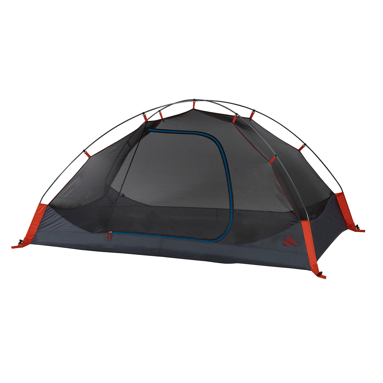 kelty late start 2 person tent no fly front view in color dark grey with blue and orange accents