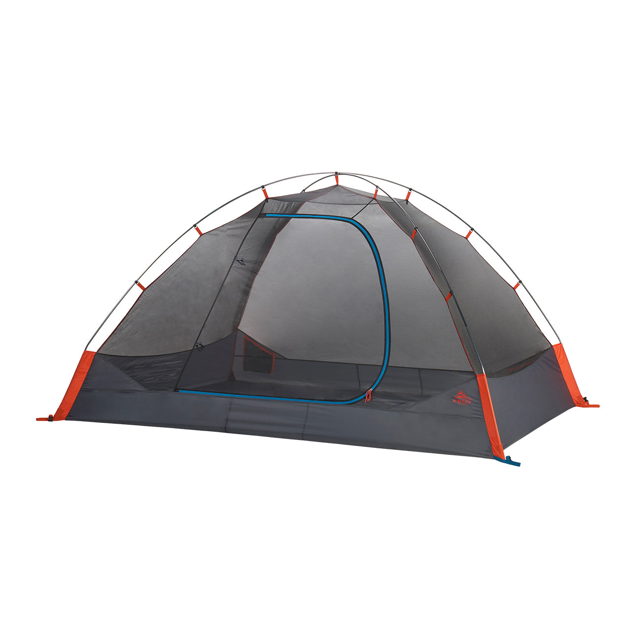 kelty late start 4 person tent no fly front view in color dark grey with orange accents