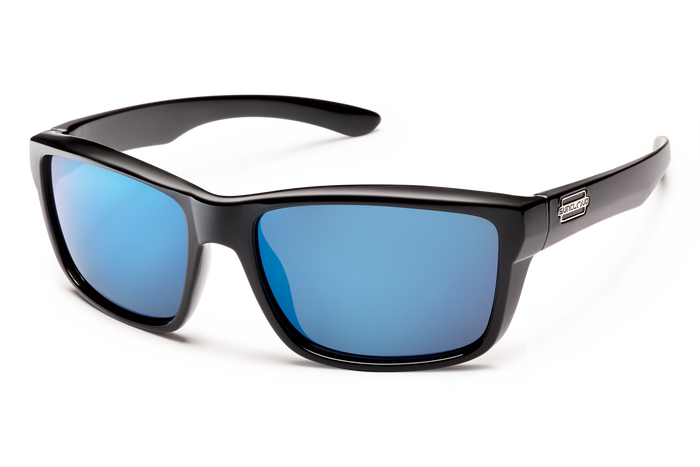 suncloud mayor sunglasses in black with blue polarized lenses