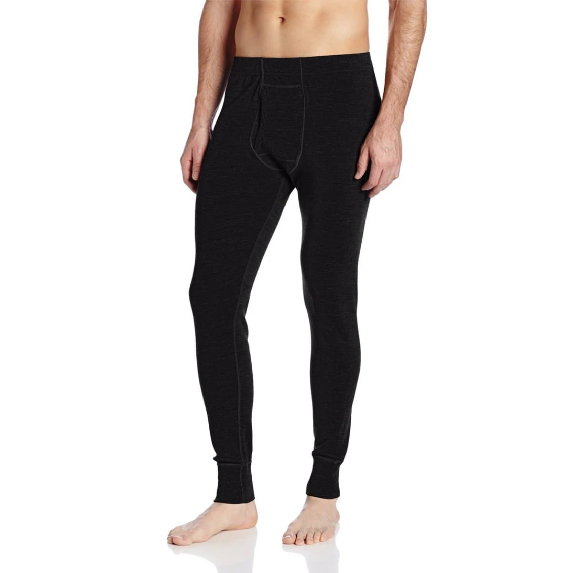 minus33 men's midweight wool bottoms in black on model front view