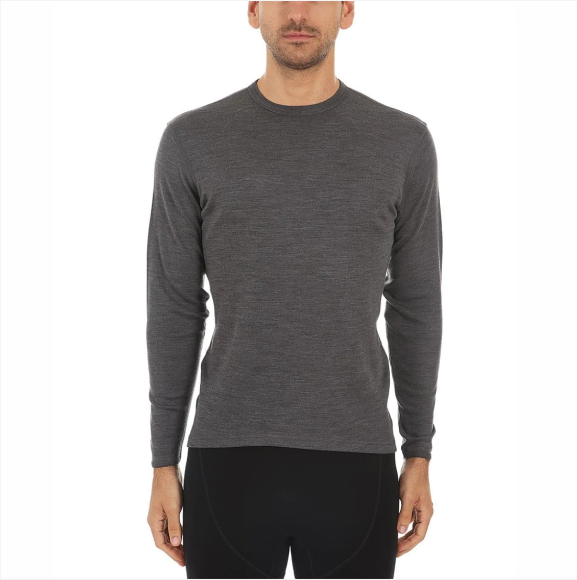 minus33 men's midweight wool crew in charcoal on model front view