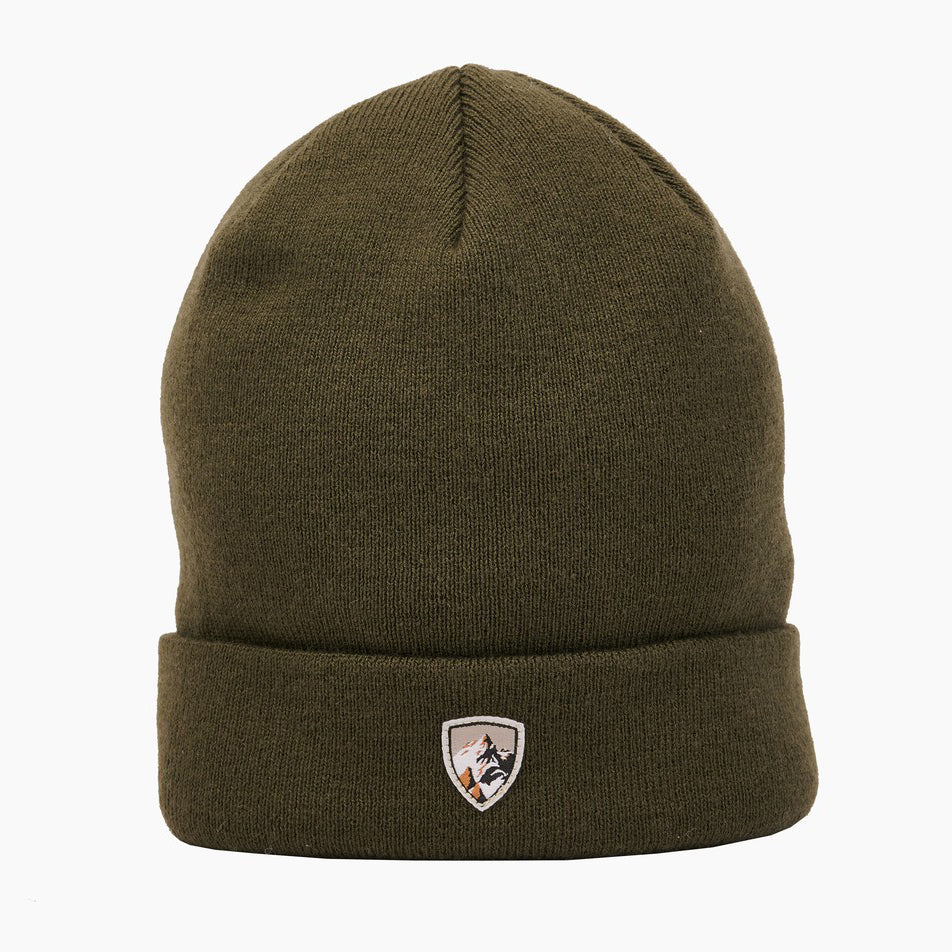 kuhl merino beanie front view in color olive green with kuhl logo