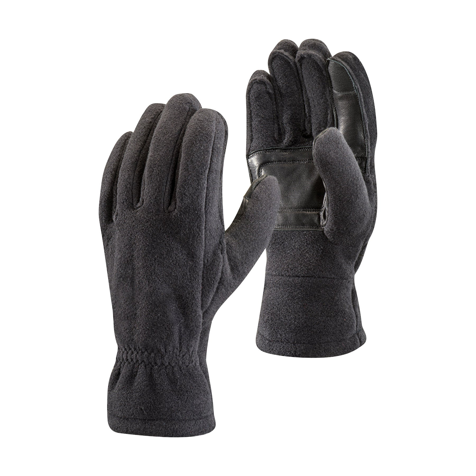 a pair of black fleece gloves