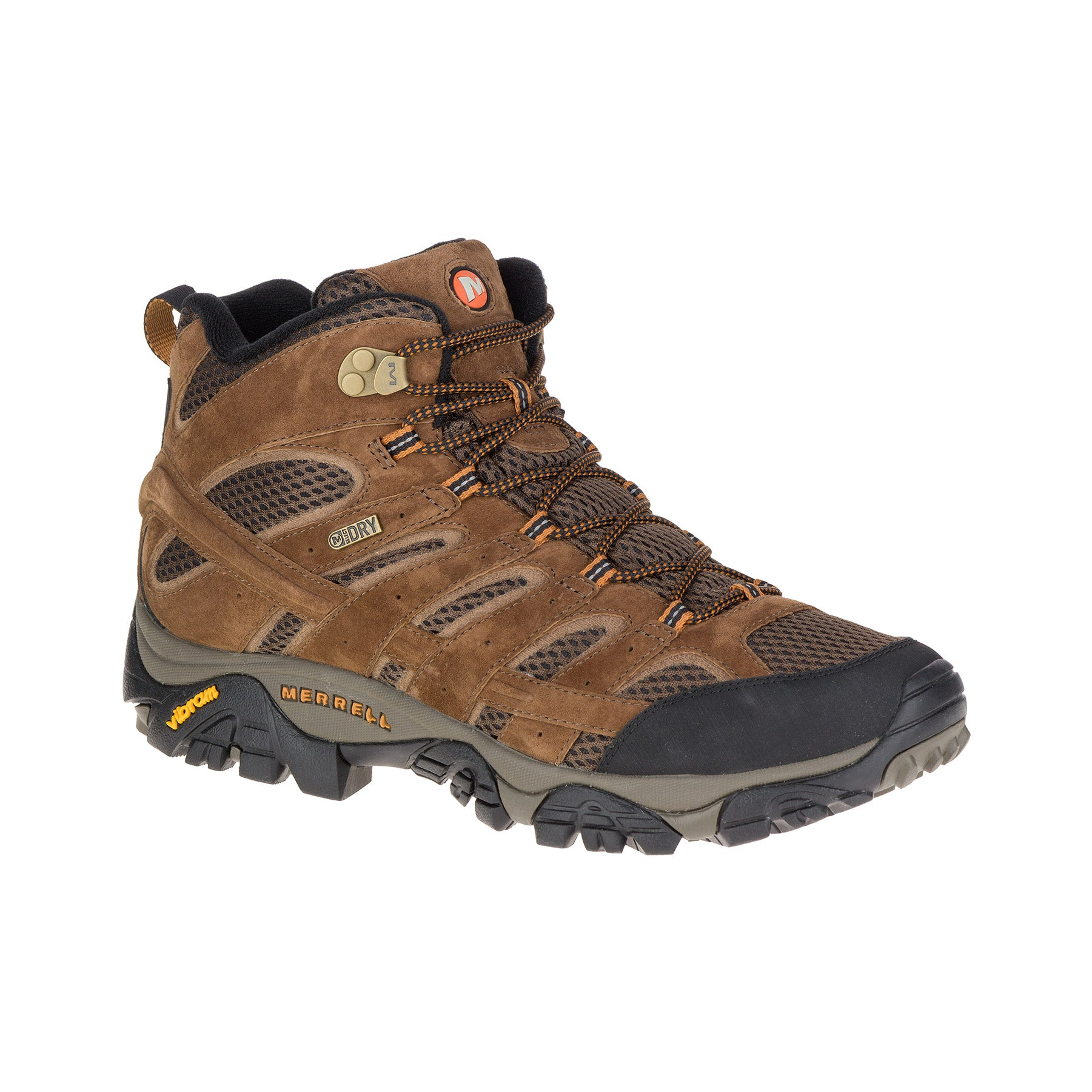merrell moab 2 mid waterproof wide mens hiking boot side view in color brown