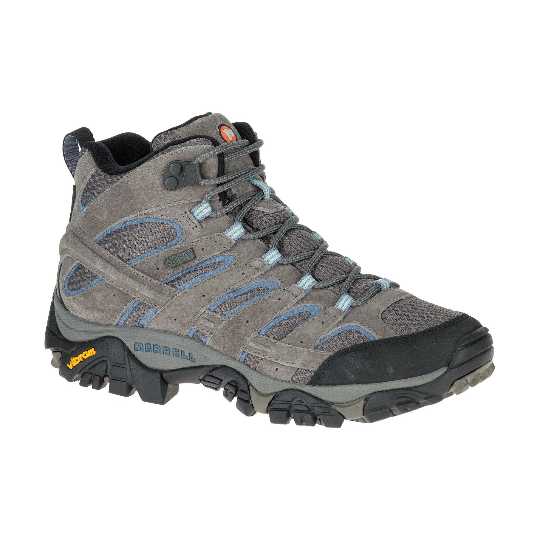 merrell moab 2 mid waterproof womens hiking boots side view in colors grey brown and blue