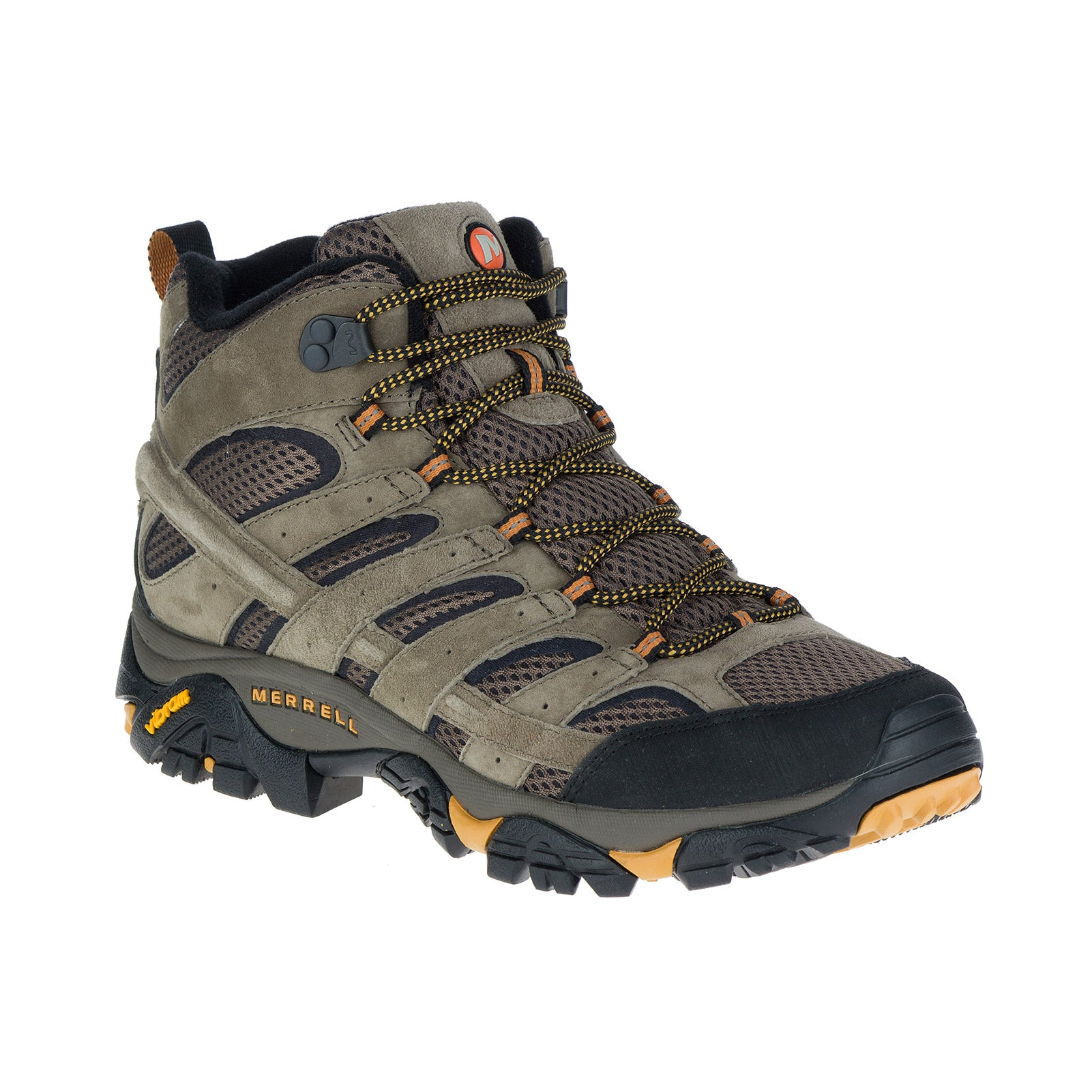 merrell moab 2 ventilator hiking boot mens three quarter view in color brown with orange accents
