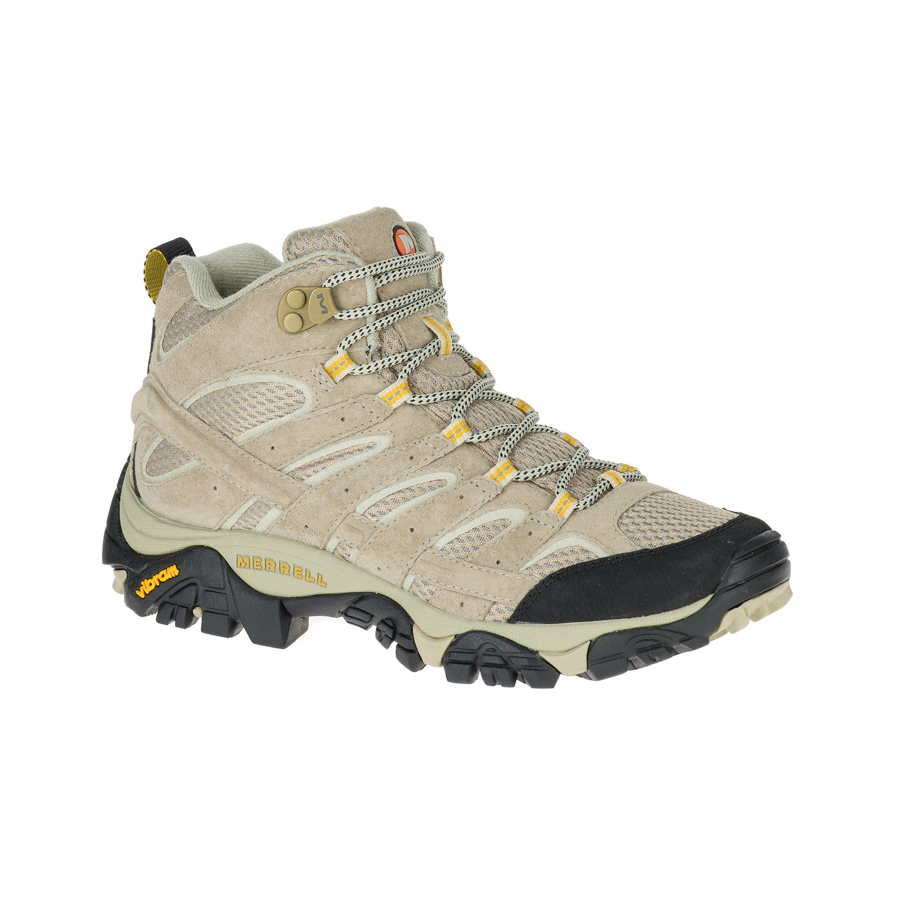 merrell moab 2 ventilator womens hiking boot side view in colors tan and yellow