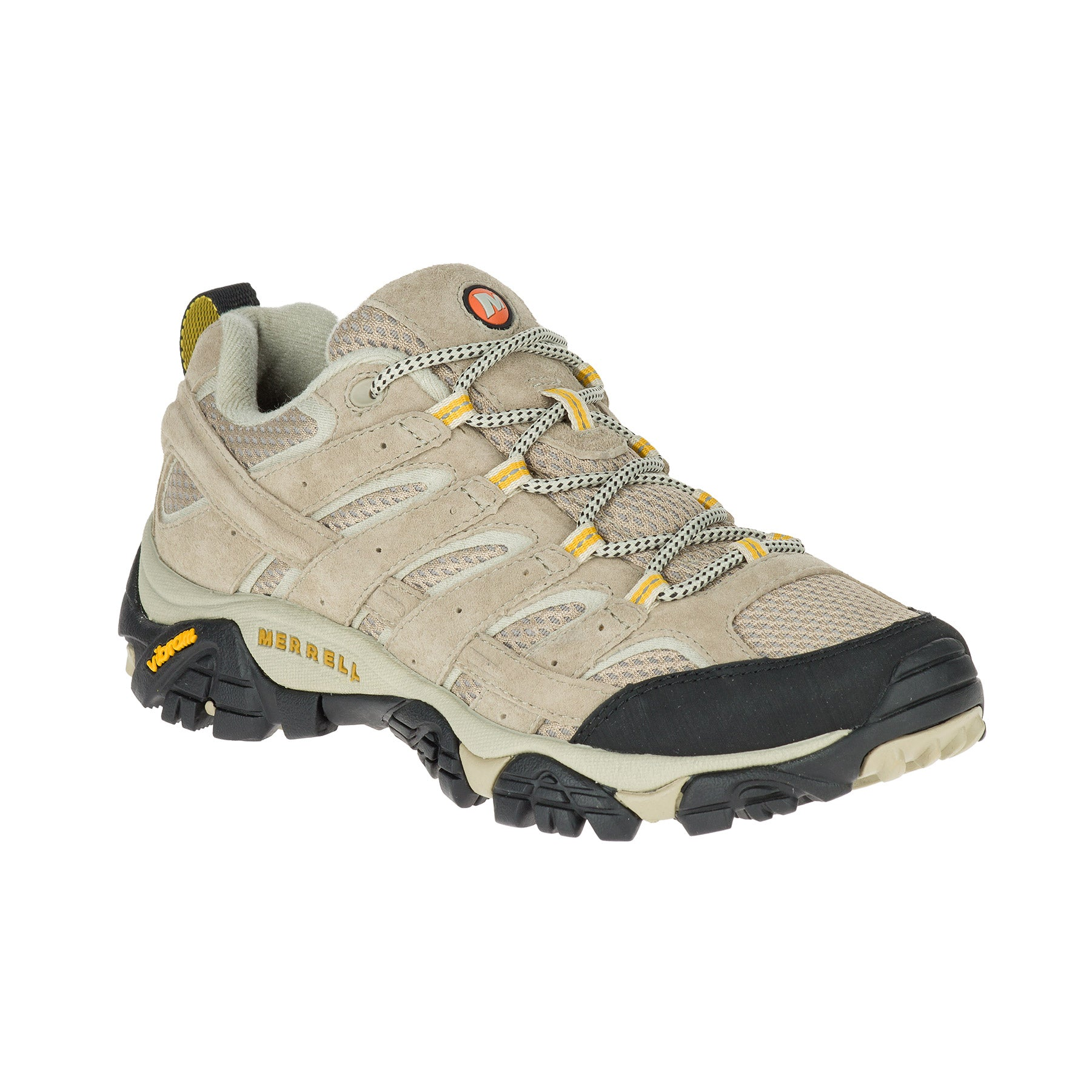 merrell moab 2 ventilator hiking shoe side view women's in colors tan and yellow