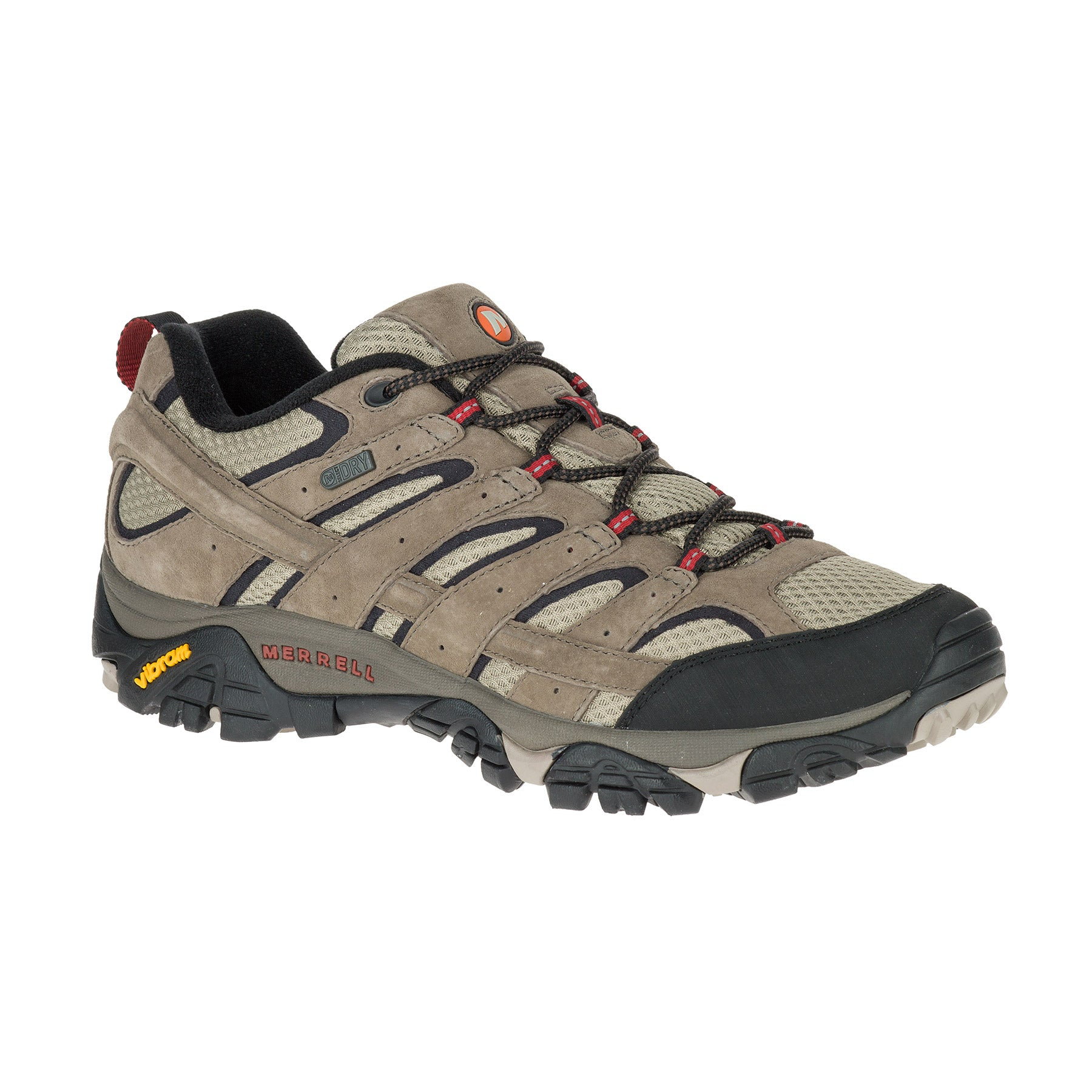 merrell moab 2 waterproof mens hiking shoe side view in color tan and light brown