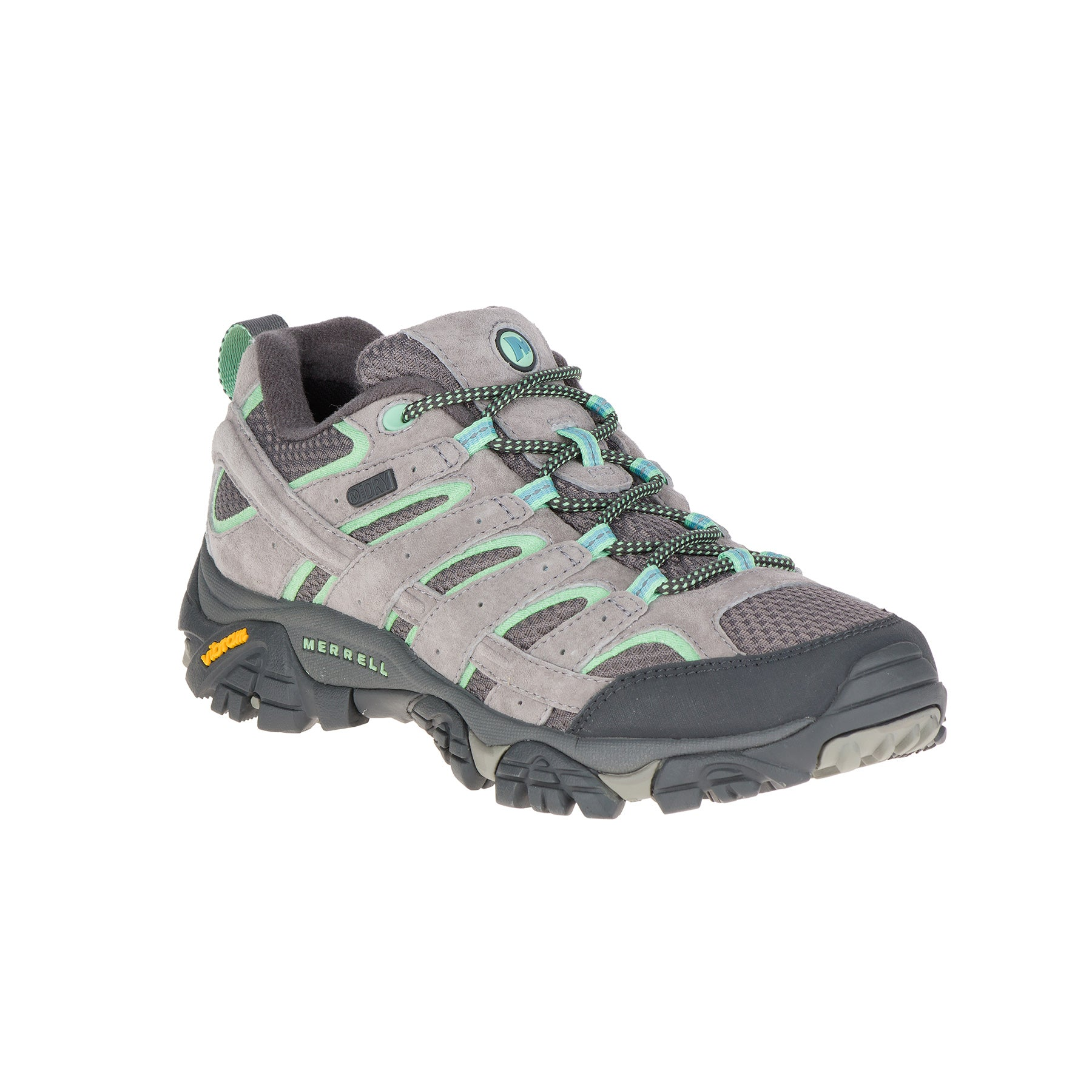 merrell moab 2 waterproof womens hiking shoe in color grey with light green accents sideview