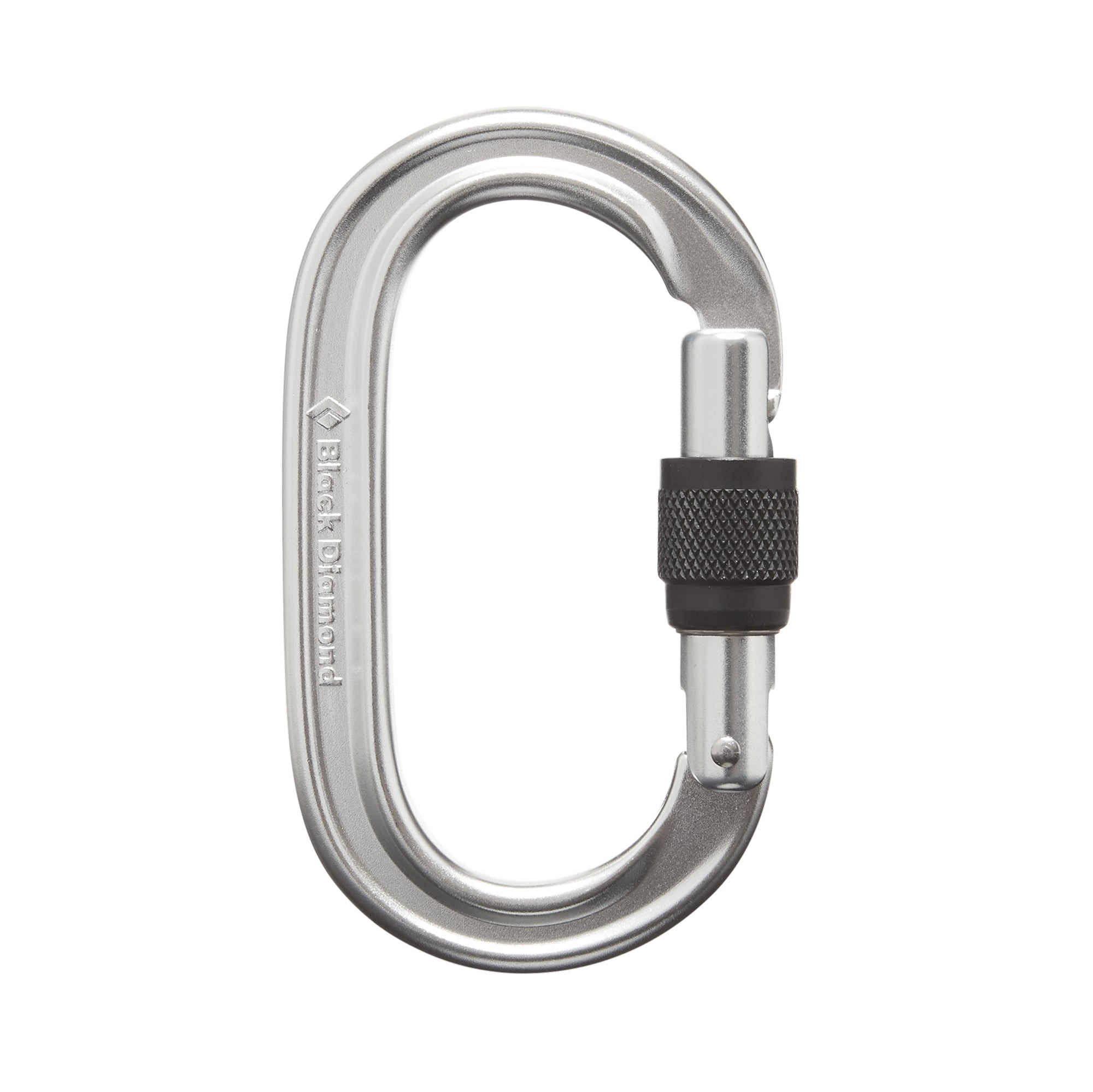 silver oval carabiner with black screwlock in unlocked position