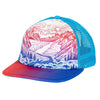 a mountain scene is depicted on the turtle fur mountain trucker with shades of red and blue