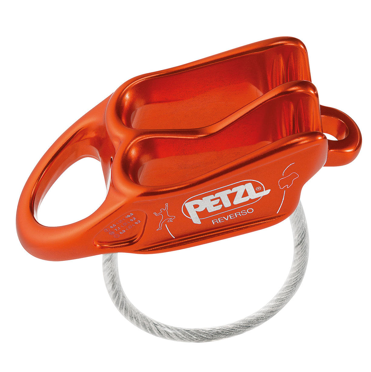 the petzl reverso belay device, in orange