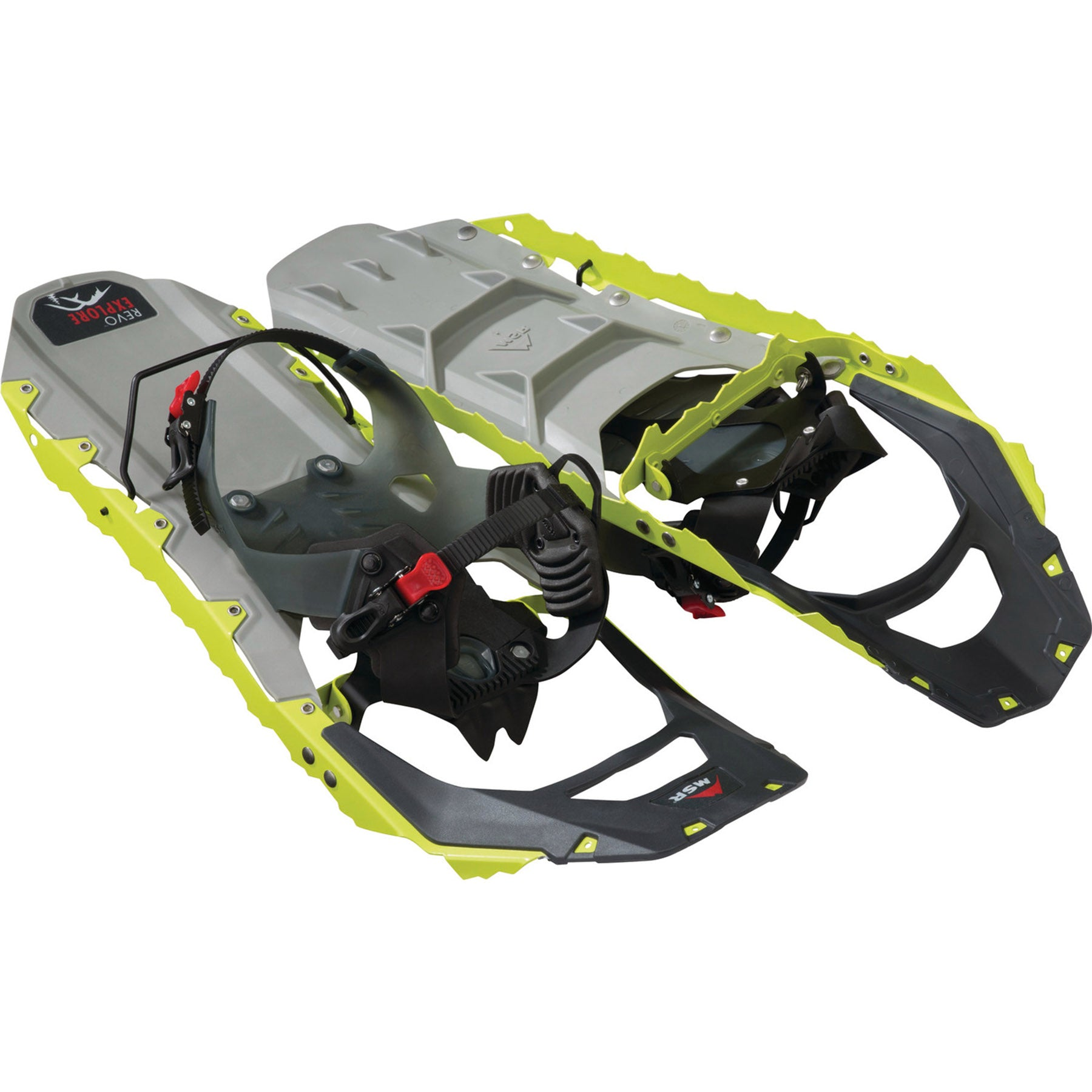 top and bottom view of the revo explore 22 snowshoe in chartruse