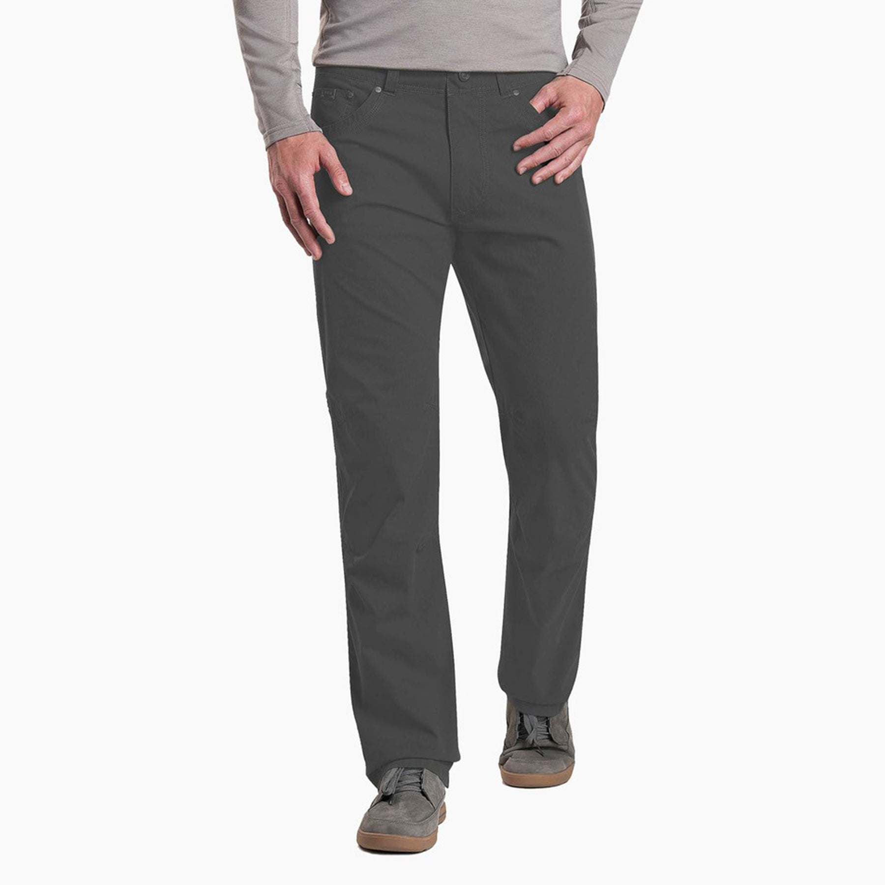 kuhl revolvr pants mens on model front view in color dark grey