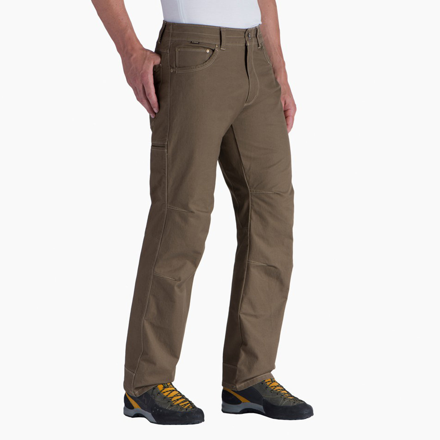 kuhl rydr pant mens on model three quarter view in color brown khaki