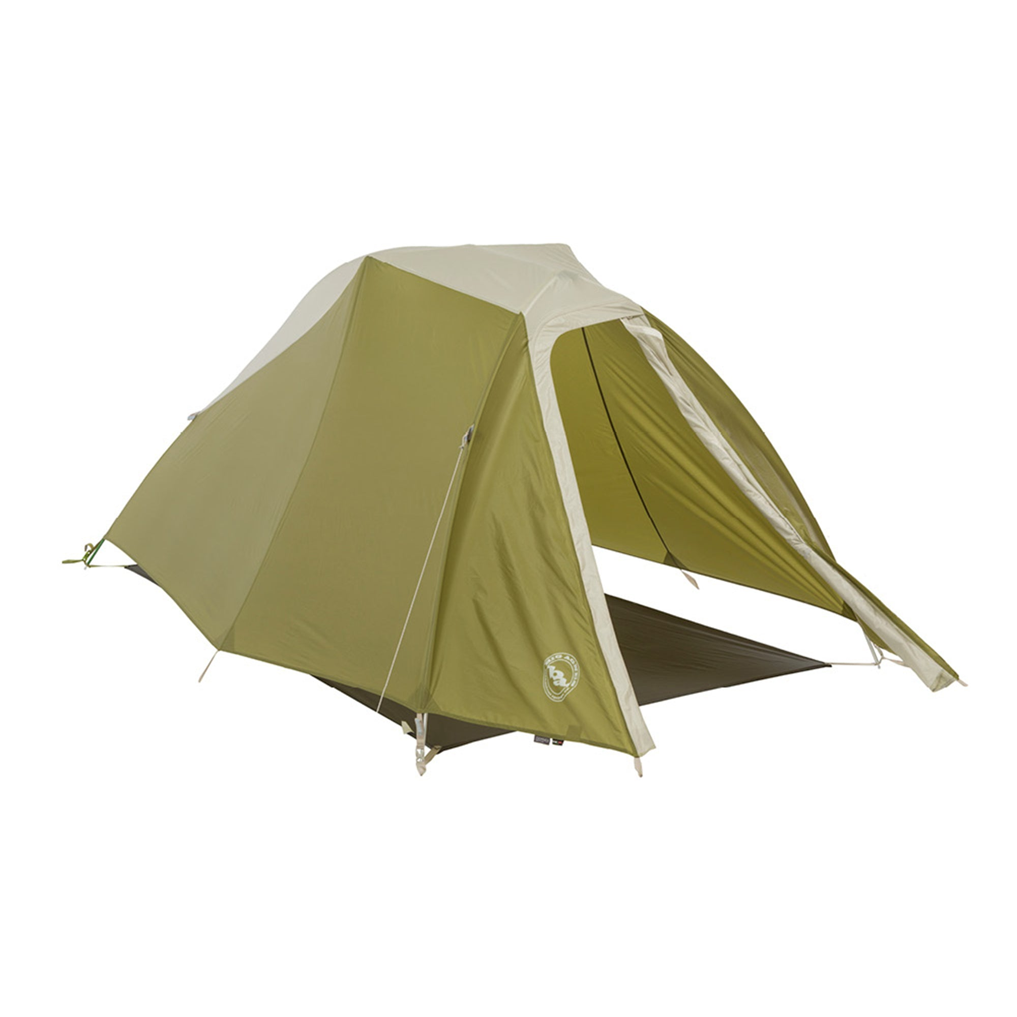forest green tent with door open