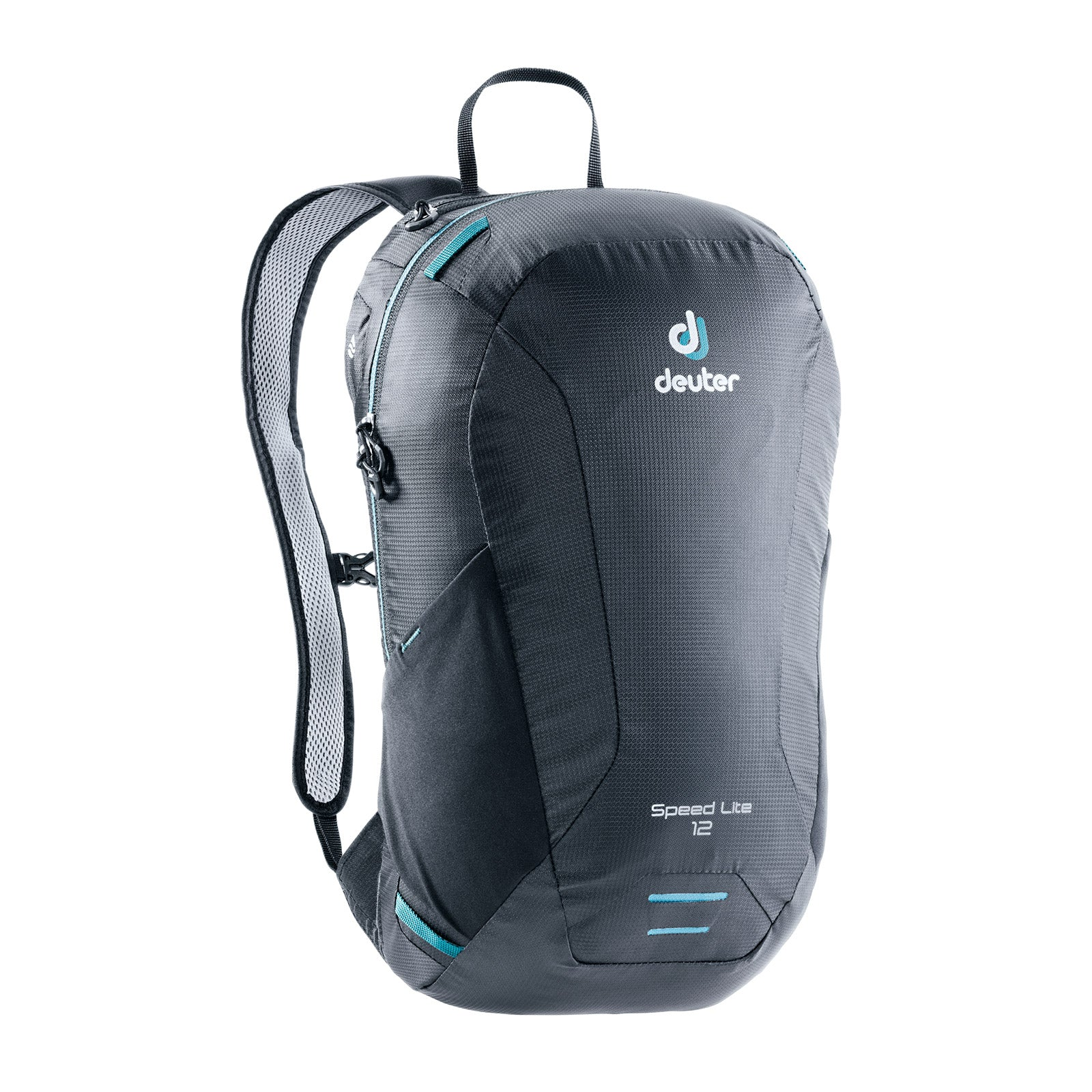 deuter speedlite 12 daypack front view in color dark grey with light blue details