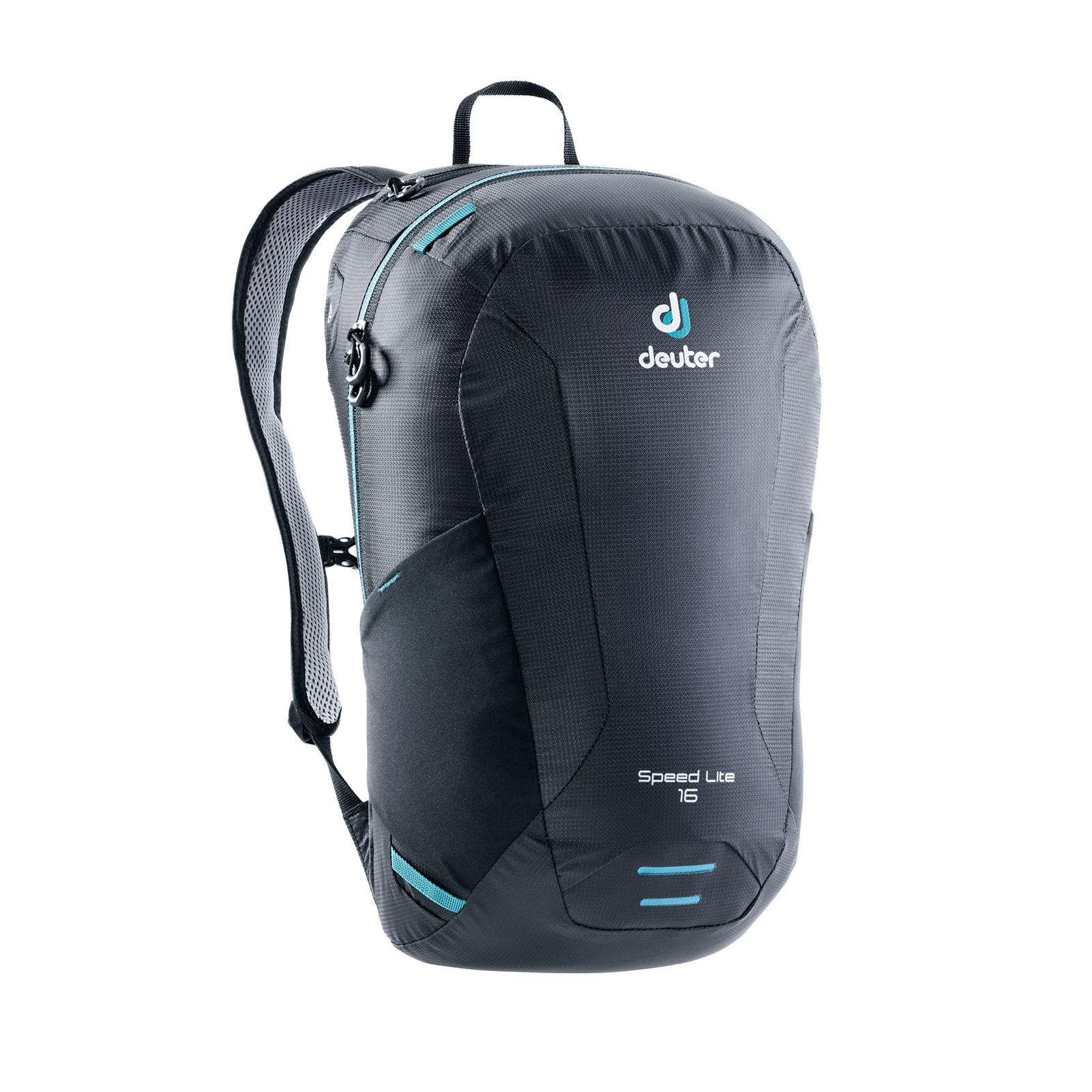 deuter speedlite 16 day pack front view in color dark grey with blue details